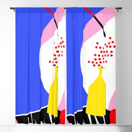 Abstract geometric figures in red, yellow and blue Blackout Curtain
