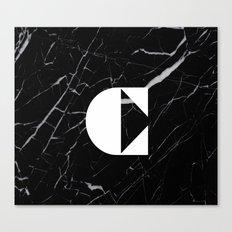 Black Marble - Alphabet C Canvas Print