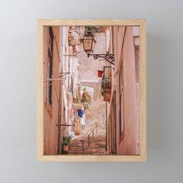 Narrow Street in Lisbon Framed Mini Art Print