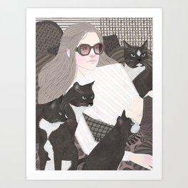 Hey there kitty! GREY Art Print