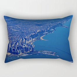 Chicago By Air No. 1: The Lakeshore from Downtown to Evanston Rectangular Pillow