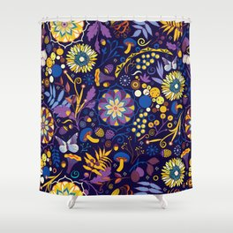 Ripe autumn – purple and yellow Shower Curtain