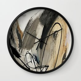 Drift [5]: a neutral abstract mixed media piece in black, white, gray, brown Wall Clock