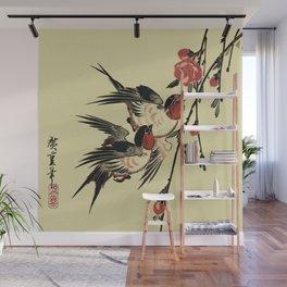 Moon Swallows and Peach Blossoms Wall Mural