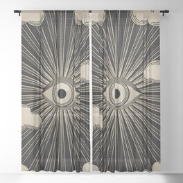 Radiant eye minimal sky with clouds - black and gold Sheer Curtain