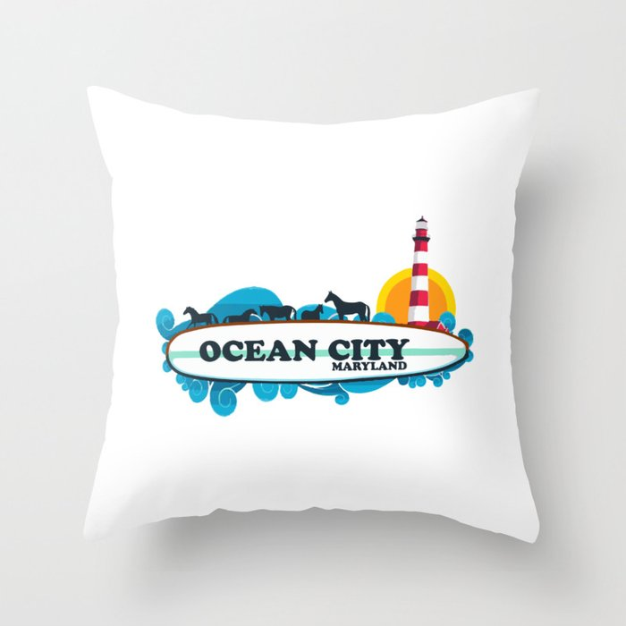 Ocean City Maryland Throw Pillow By Amricaroadside Society6