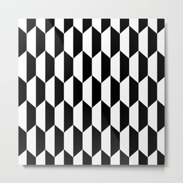 Classic Trapezoid Pattern 221 Black and White Metal Print