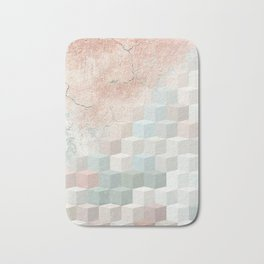 Distressed Cube Pattern - Nude, turquoise and seashell Bath Mat