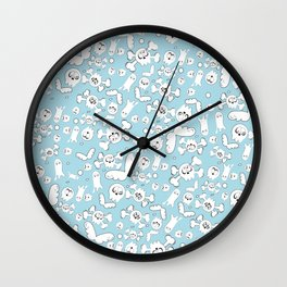 Skulls and ghosts pattern in light blue Wall Clock