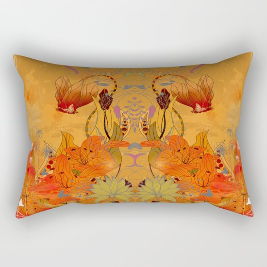Boho Floral Pattern Rectangular Pillow