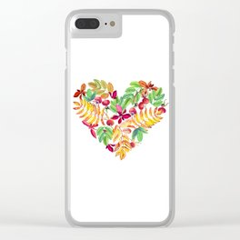 Heart leaves watercolor Clear iPhone Case