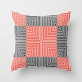 Optical illusion with red and black stripes Throw Pillow