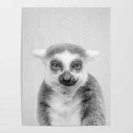 Lemur - Black & White Poster