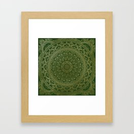 Mandala Royal - Green and Gold Framed Art Print