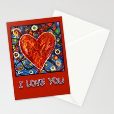 Abstract Painted Heart Stationery Cards