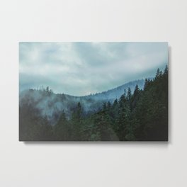 Misty Forest Mountains Trees Metal Print