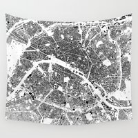buildings Wall Tapestries featuring Paris Map Schwarzplan Only Buildings by City Art Posters