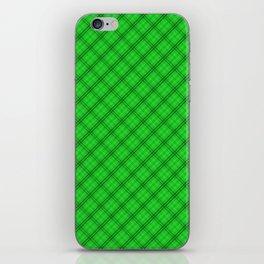 Monster Green and Black Halloween Tartan Check Plaid iPhone Skin