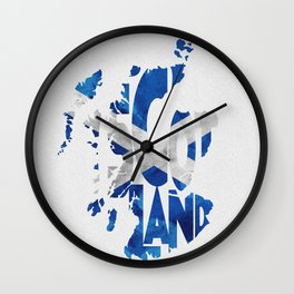 Scotland Typographic Flag / Map Art Wall Clock