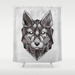 Geometric Wolf Shower Curtain