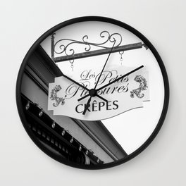 Les Crepes BW Wall Clock