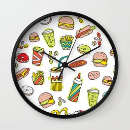 Awesome retro junk food icons Wall Clock