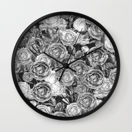 Vintage Roses Black And White Wall Clock