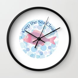Keep the Sea Clean Wall Clock