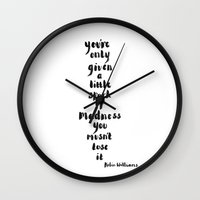 robin williams Wall Clocks featuring Robin Williams Quote by Heidi Nicole