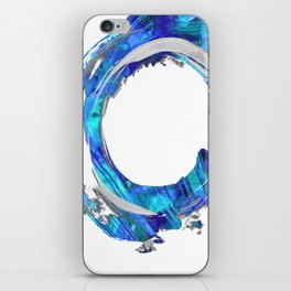 Blue And White Abstract Art - Swirling 1 - Sharon Cummings iPhone Skin