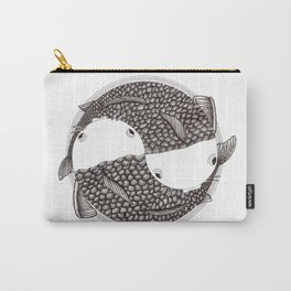 Pisces - Fish Koi - Japanese Tattoo Style (black and white) Carry-All Pouch