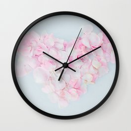 Heart from the petals of pink tea roses Wall Clock