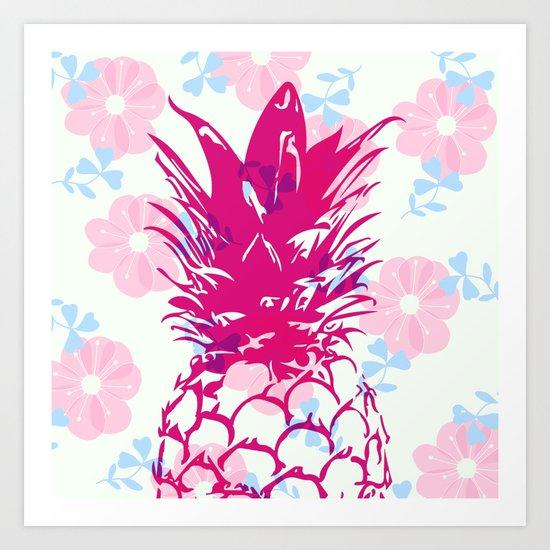 Beautiful Pineapple Flowers Pattern Art Print