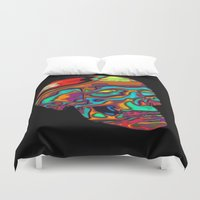 lsd Duvet Covers featuring LSD Skull by johannesart