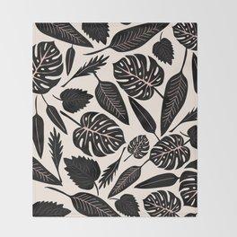 Monstera pattern in black and pastel Throw Blanket