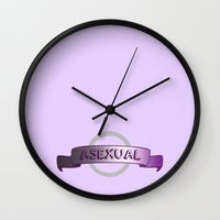 asexual Wall Clocks featuring Asexuality Pride by discojellyfish