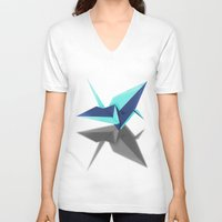 origami V-neck T-shirts featuring Origami by Red 99