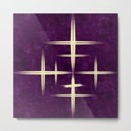 Gold CrisCross HopScotch on Purple Texture Canvas Paper Metal Print