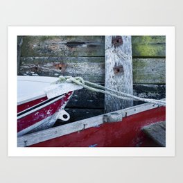 Detail of boats and seawall. Burnham Overy Staithe, North Norfolk Coast, UK in Winter Art Print