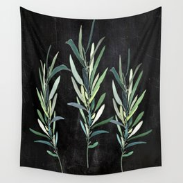 Eucalyptus Branches On Chalkboard Wall Tapestry
