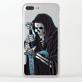 grim reaper with sword .grim reaper tattoo. Clear iPhone Case