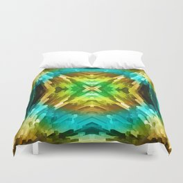 Golden Aqua Burst Duvet Cover