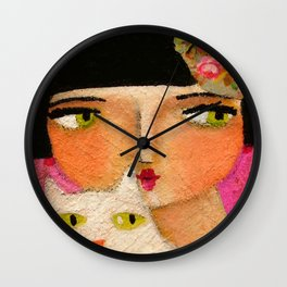 White Cat and Flapper girl pretty painting by Tascha Wall Clock