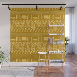 Mud Cloth on Mustard Wall Mural