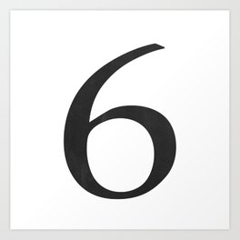Number 6 (Black) Art Print
