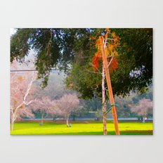Green pastures and trees photo Canvas Print