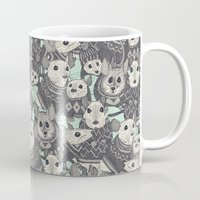 sweater Mugs featuring sweater mice mint by Sharon Turner