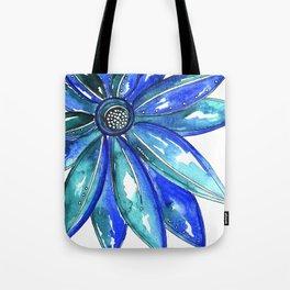 Blue Watercolor flower Tote Bag