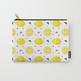 Sunshine yellow watercolor tropical lemon triangles dots pattern Carry-All Pouch