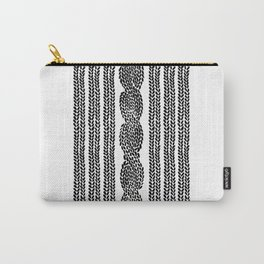 Cable Stripe White Carry-All Pouch